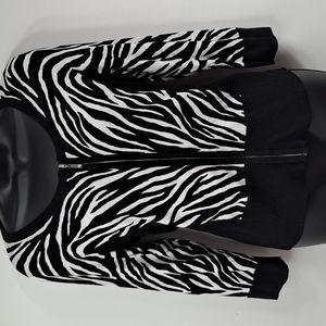 Like New! WHBM Zip Sweater Zebra M